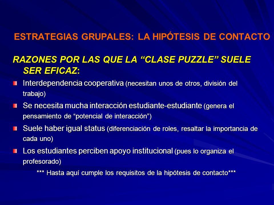 ESTRATEGIAS GRUPALES: LA HIPÓTESIS DE CONTACTO RAZONES POR LAS QUE LA CLASE PUZZLE SUELE SER EFICAZ: Interdependencia cooperativa (necesitan unos de o