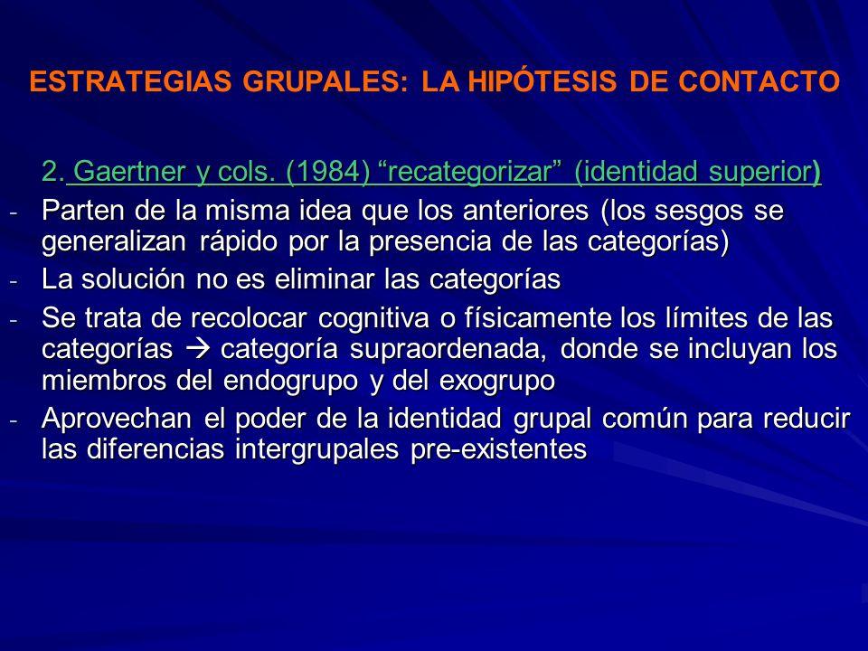 ESTRATEGIAS GRUPALES: LA HIPÓTESIS DE CONTACTO 2. Gaertner y cols. (1984) recategorizar (identidad superior) - Parten de la misma idea que los anterio
