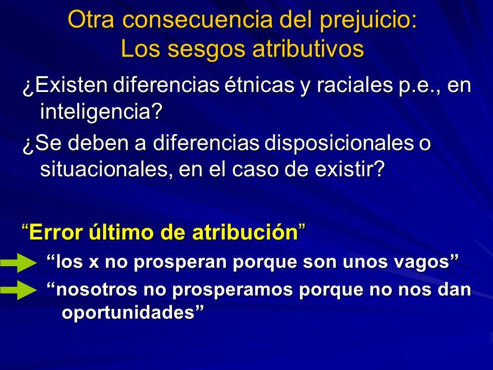 Otra consecuencia del prejuicio: Los sesgos atributivos ¿Existen diferencias étnicas y raciales p.e., en inteligencia? ¿Se deben a diferencias disposi