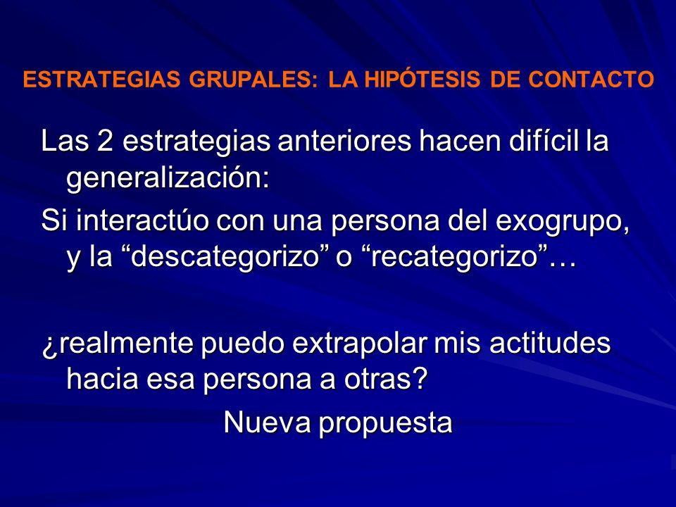 ESTRATEGIAS GRUPALES: LA HIPÓTESIS DE CONTACTO Las 2 estrategias anteriores hacen difícil la generalización: Si interactúo con una persona del exogrup