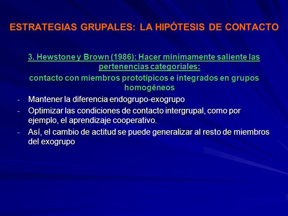 ESTRATEGIAS GRUPALES: LA HIPÓTESIS DE CONTACTO 3. Hewstone y Brown (1986): Hacer mínimamente saliente las pertenencias categoriales: contacto con miem