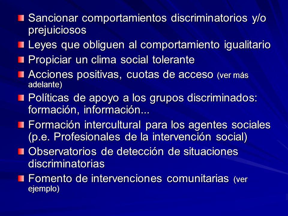 Sancionar comportamientos discriminatorios y/o prejuiciosos Leyes que obliguen al comportamiento igualitario Propiciar un clima social tolerante Accio