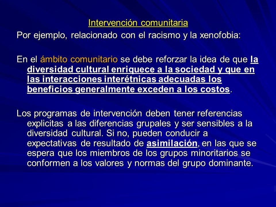 Intervención comunitaria Por ejemplo, relacionado con el racismo y la xenofobia: En el ámbito comunitario se debe reforzar la idea de que. En el ámbit