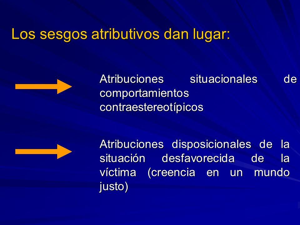 Los sesgos atributivos dan lugar: Atribuciones situacionales de comportamientos contraestereotípicos Atribuciones disposicionales de la situación desf