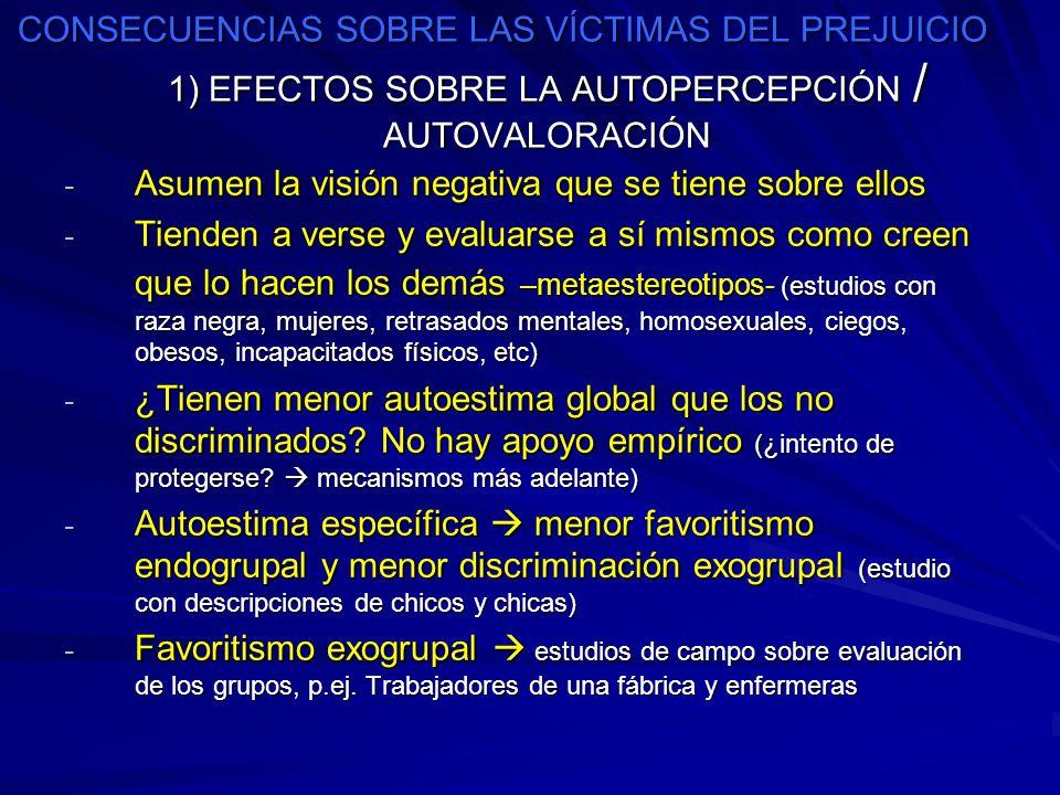 CONSECUENCIAS SOBRE LAS VÍCTIMAS DEL PREJUICIO 1) EFECTOS SOBRE LA AUTOPERCEPCIÓN / AUTOVALORACIÓN - Asumen la visión negativa que se tiene sobre ello