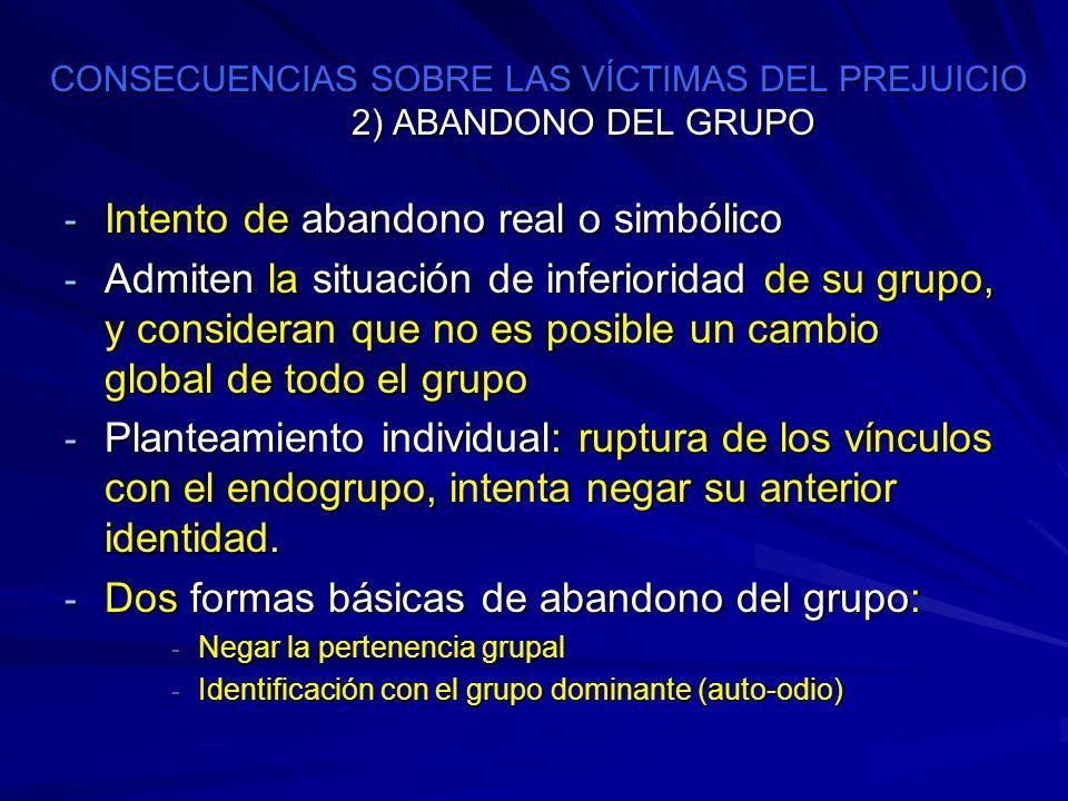 CONSECUENCIAS SOBRE LAS VÍCTIMAS DEL PREJUICIO 2) ABANDONO DEL GRUPO CONSECUENCIAS SOBRE LAS VÍCTIMAS DEL PREJUICIO 2) ABANDONO DEL GRUPO - Intento de