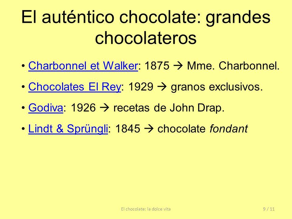 El auténtico chocolate: grandes chocolateros El chocolate: la dolce vita9 / 11 Charbonnel et Walker: 1875 Mme. Charbonnel.Charbonnel et Walker Chocola