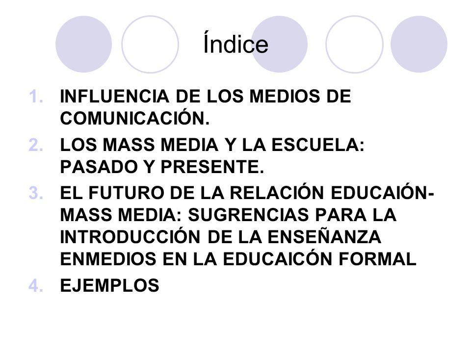 Índice 1.INFLUENCIA DE LOS MEDIOS DE COMUNICACIÓN.