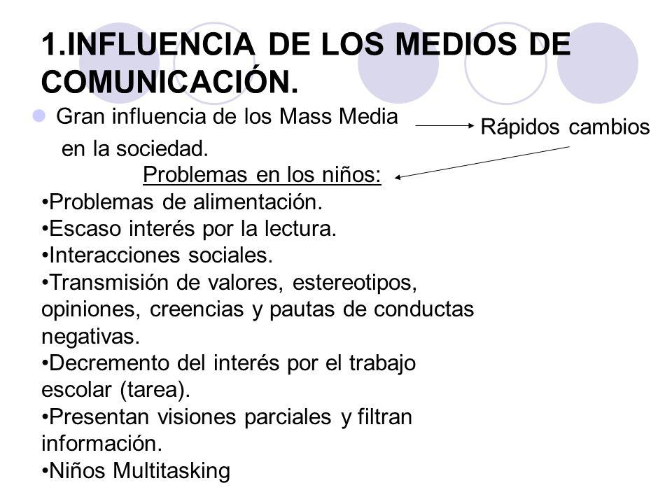 1.INFLUENCIA DE LOS MEDIOS DE COMUNICACIÓN. Gran influencia de los Mass Media en la sociedad.