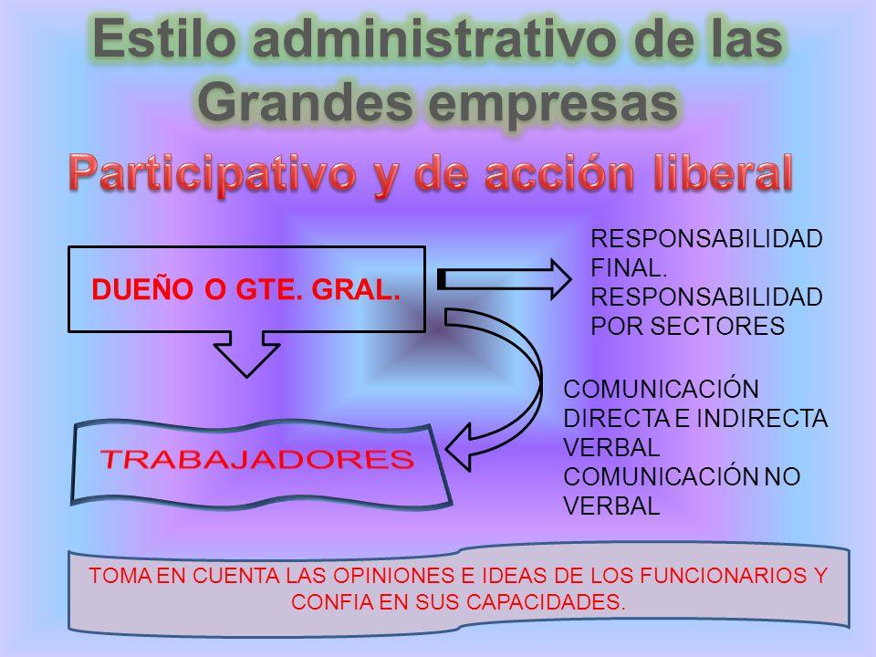 DUEÑO O GTE. GRAL. RESPONSABILIDAD FINAL.