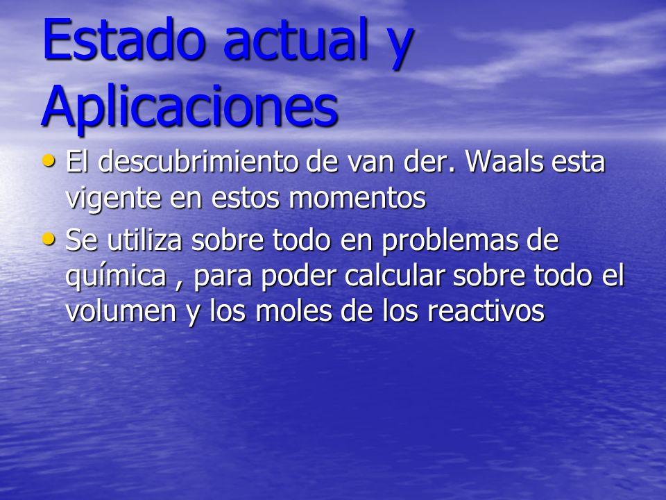 Estado actual y Aplicaciones El descubrimiento de van der. Waals esta vigente en estos momentos El descubrimiento de van der. Waals esta vigente en es