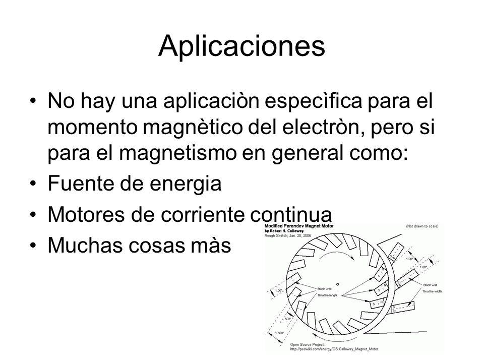 Aplicaciones No hay una aplicaciòn especìfica para el momento magnètico del electròn, pero si para el magnetismo en general como: Fuente de energia Motores de corriente continua Muchas cosas màs