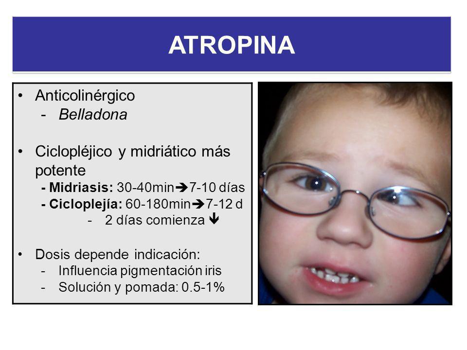 Anticolinérgico -Belladona Ciclopléjico y midriático más potente - Midriasis: 30-40min 7-10 días - Cicloplejía: 60-180min 7-12 d -2 días comienza Dosi