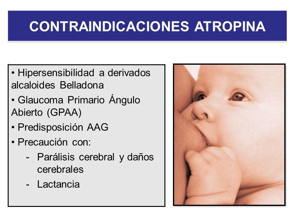 Hipersensibilidad a derivados alcaloides Belladona Glaucoma Primario Ángulo Abierto (GPAA) Predisposición AAG Precaución con: -Parálisis cerebral y da