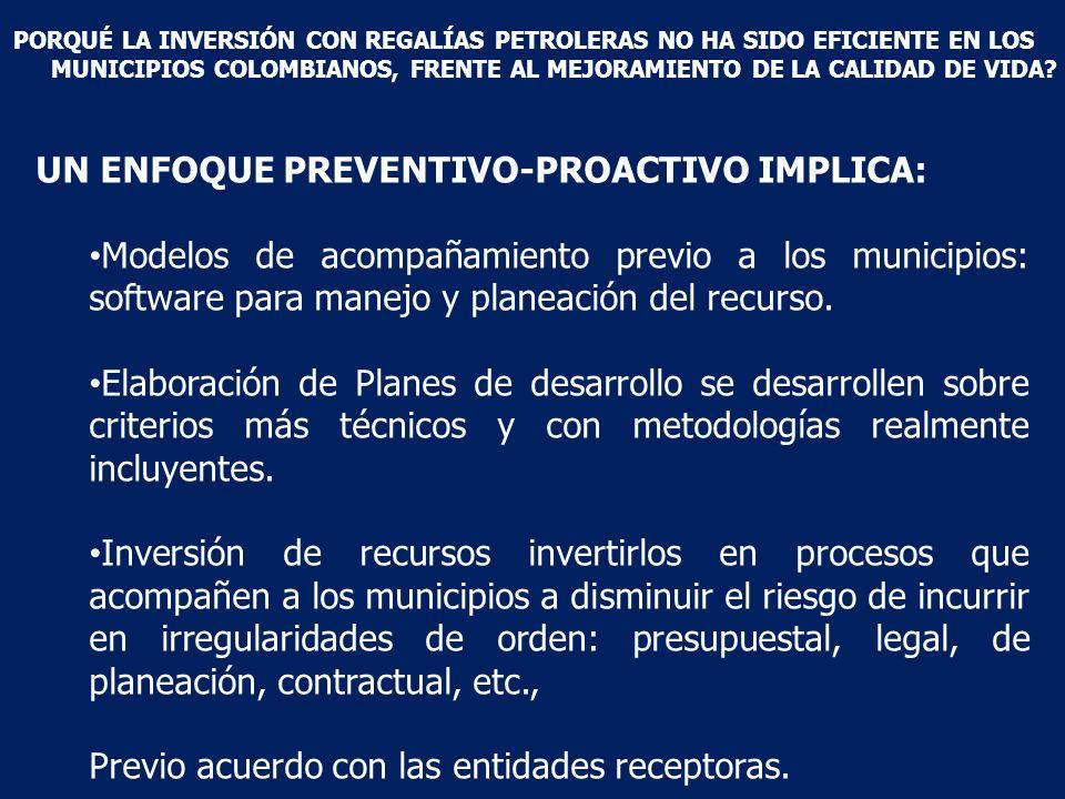 UN ENFOQUE PREVENTIVO-PROACTIVO IMPLICA: Modelos de acompañamiento previo a los municipios: software para manejo y planeación del recurso.