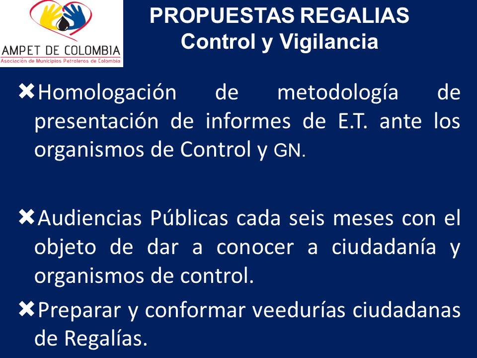 Homologación de metodología de presentación de informes de E.T. ante los organismos de Control y GN. Audiencias Públicas cada seis meses con el objeto