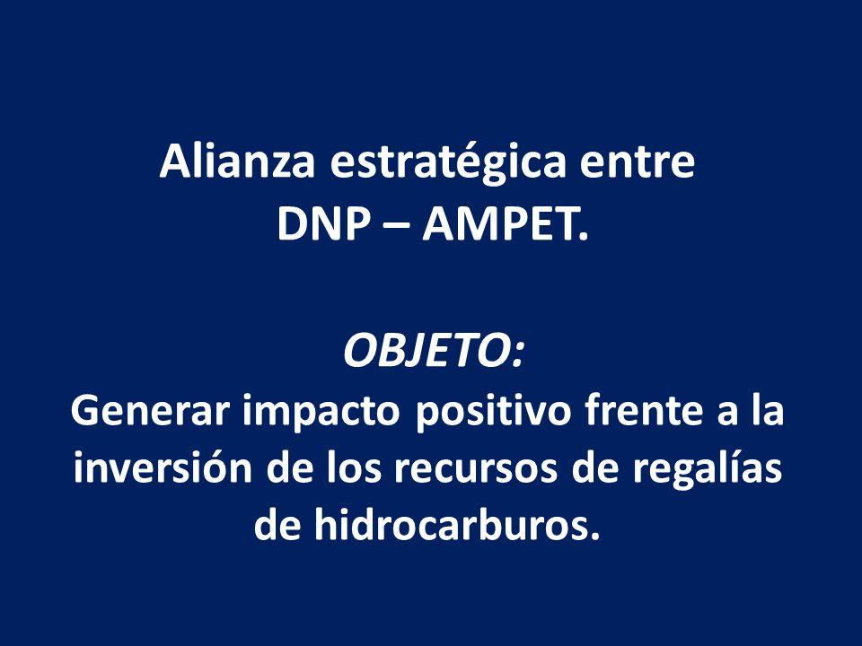 Alianza estratégica entre DNP – AMPET. OBJETO: Generar impacto positivo frente a la inversión de los recursos de regalías de hidrocarburos.