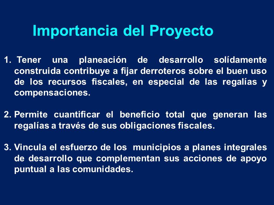 Importancia del Proyecto 1. Tener una planeación de desarrollo solídamente construida contribuye a fijar derroteros sobre el buen uso de los recursos
