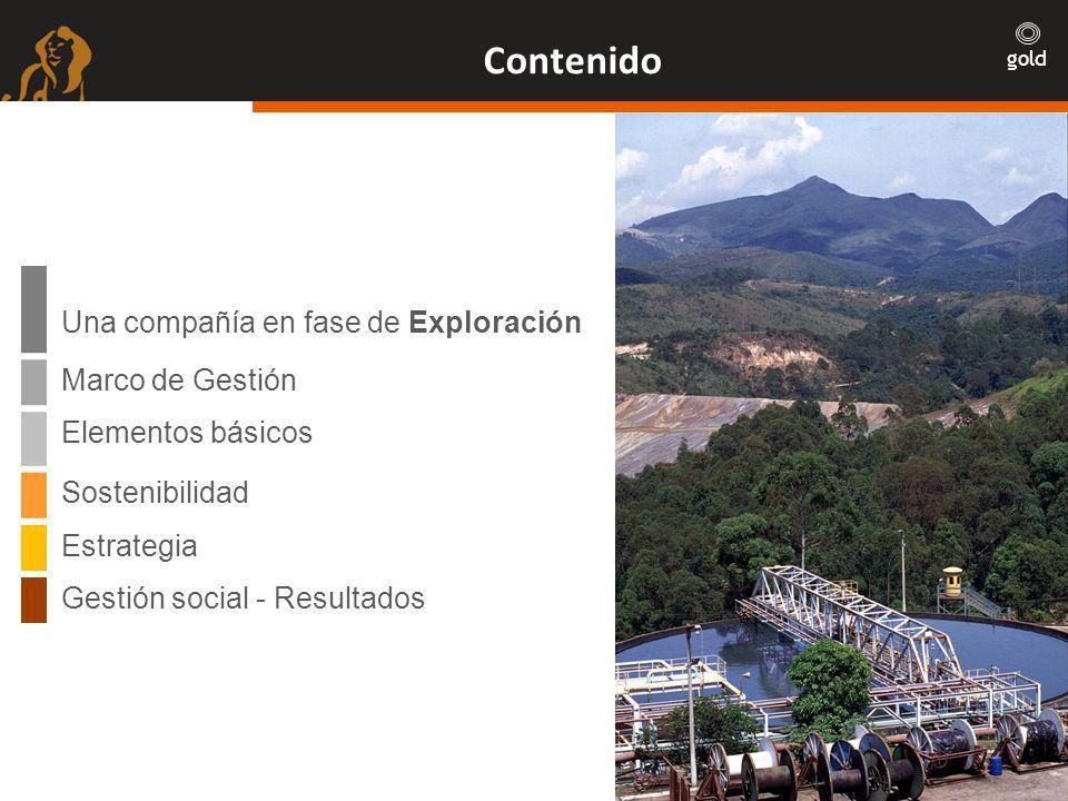 gold Contenido Una compañía en fase de Exploración Marco de Gestión Elementos básicos Sostenibilidad Estrategia Gestión social - Resultados