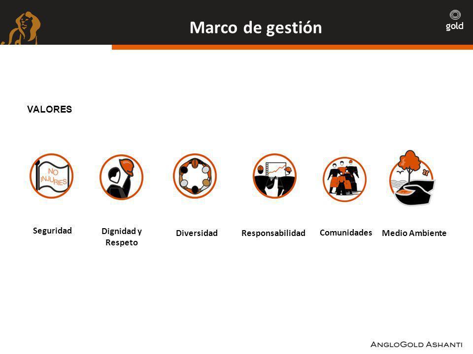 gold Marco de gestión VALORES Seguridad Dignidad y Respeto DiversidadResponsabilidad Comunidades Medio Ambiente