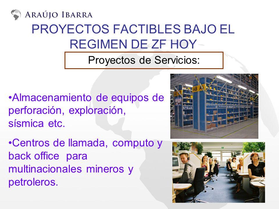 PROYECTOS FACTIBLES BAJO EL REGIMEN DE ZF HOY Proyectos de Servicios: Almacenamiento de equipos de perforación, exploración, sísmica etc. Centros de l