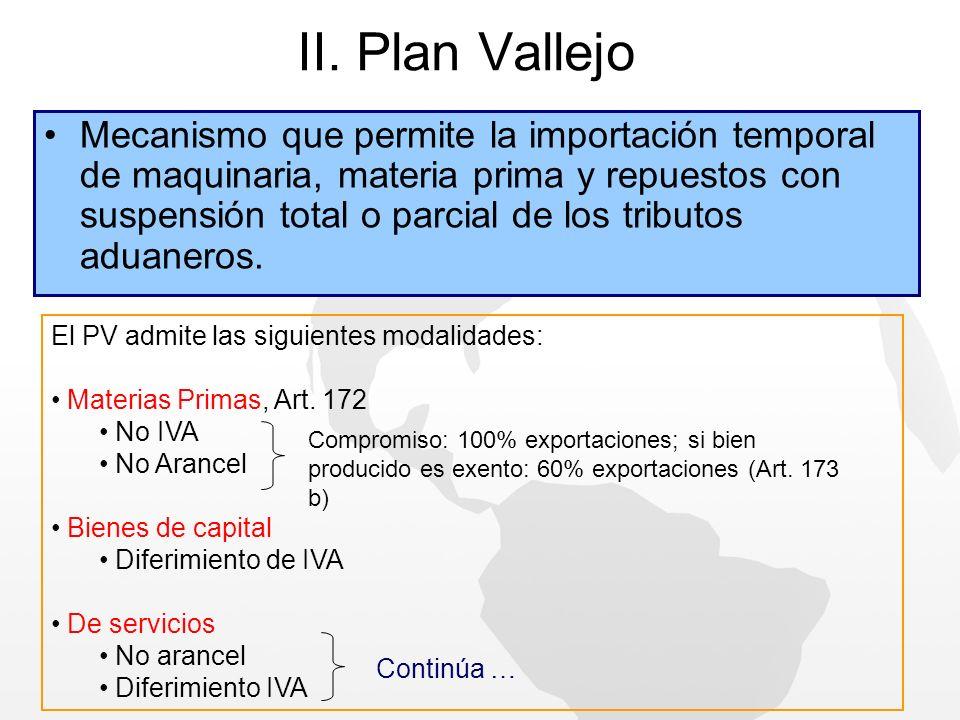 II. Plan Vallejo Mecanismo que permite la importación temporal de maquinaria, materia prima y repuestos con suspensión total o parcial de los tributos