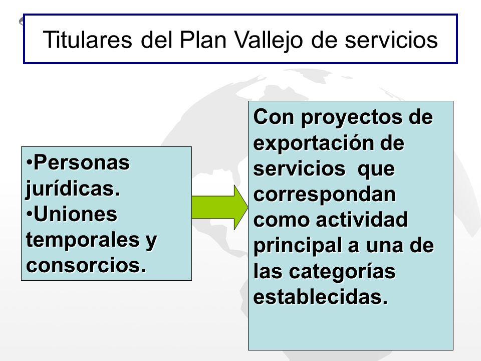 Con proyectos de exportación de servicios que correspondan como actividad principal a una de las categorías establecidas. Personas jurídicas.Personas