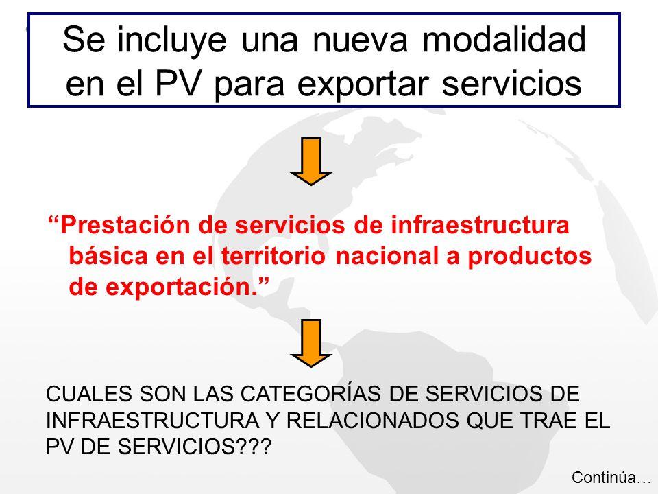 Prestación de servicios de infraestructura básica en el territorio nacional a productos de exportación. Se incluye una nueva modalidad en el PV para e