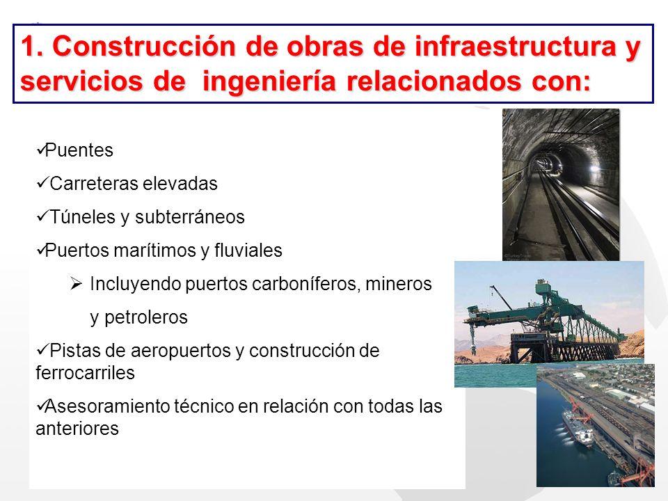 Puentes Carreteras elevadas Túneles y subterráneos Puertos marítimos y fluviales Incluyendo puertos carboníferos, mineros y petroleros Pistas de aerop