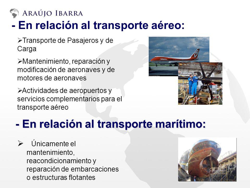 Transporte de Pasajeros y de Carga Mantenimiento, reparación y modificación de aeronaves y de motores de aeronaves Actividades de aeropuertos y servic