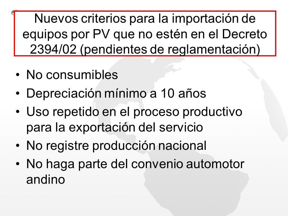 Nuevos criterios para la importación de equipos por PV que no estén en el Decreto 2394/02 (pendientes de reglamentación) No consumibles Depreciación m