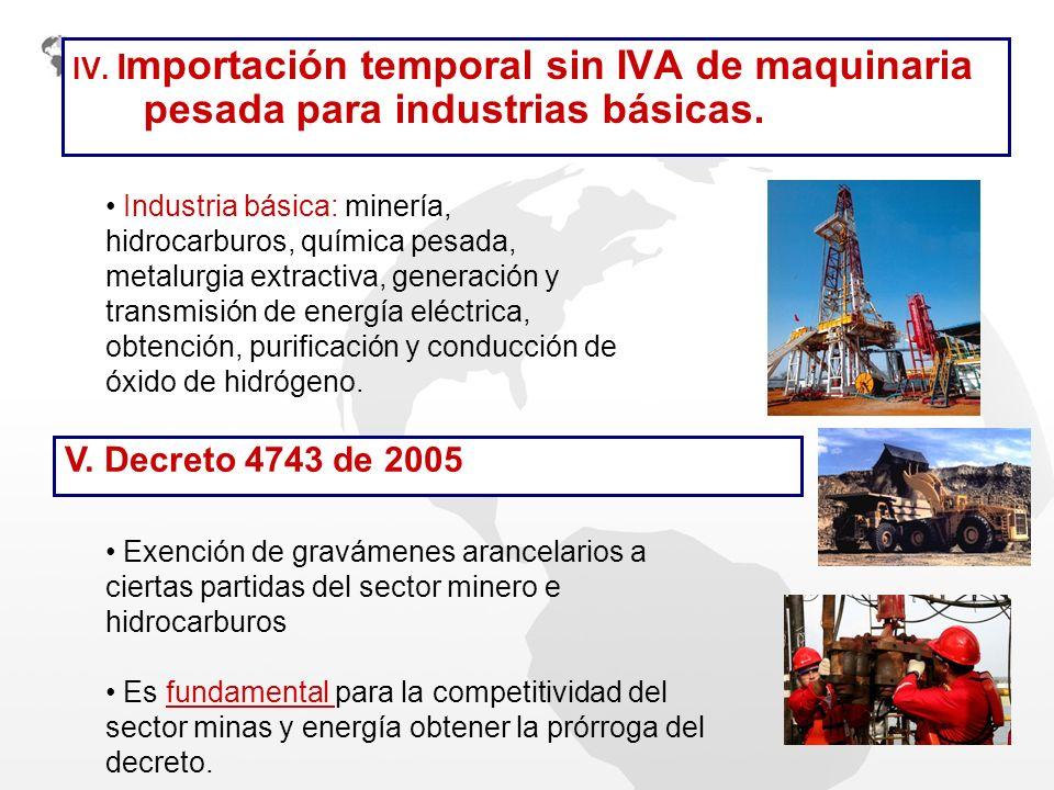 IV. I mportación temporal sin IVA de maquinaria pesada para industrias básicas. Industria básica: minería, hidrocarburos, química pesada, metalurgia e