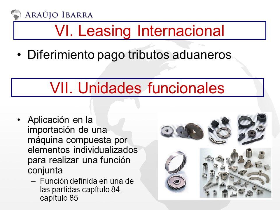 VI. Leasing Internacional Diferimiento pago tributos aduaneros VII. Unidades funcionales Aplicación en la importación de una máquina compuesta por ele