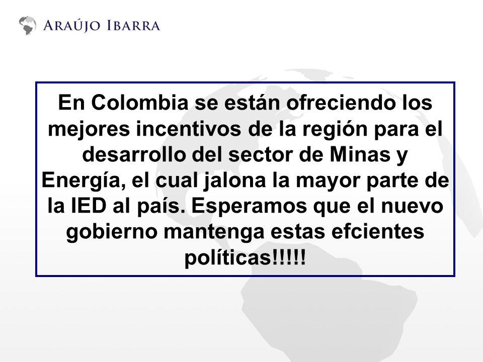 En Colombia se están ofreciendo los mejores incentivos de la región para el desarrollo del sector de Minas y Energía, el cual jalona la mayor parte de
