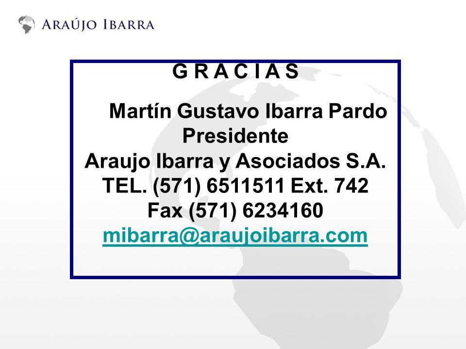 G R A C I A S Martín Gustavo Ibarra Pardo Presidente Araujo Ibarra y Asociados S.A. TEL. (571) 6511511 Ext. 742 Fax (571) 6234160 mibarra@araujoibarra