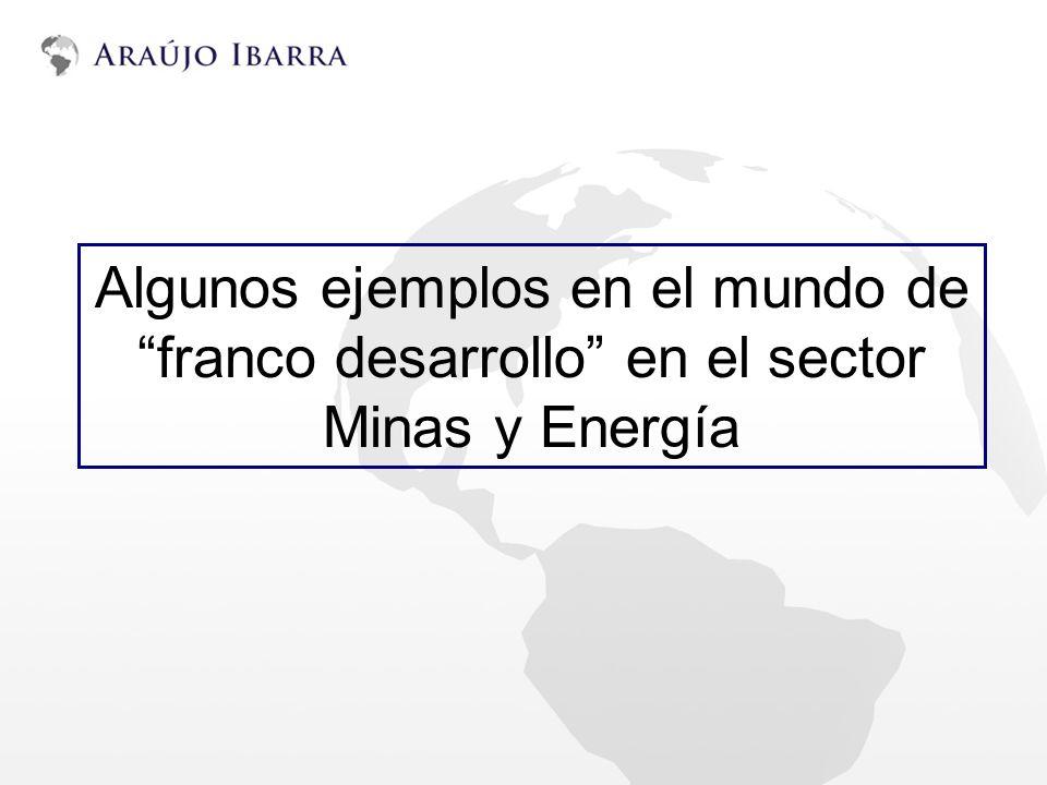 Algunos ejemplos en el mundo de franco desarrollo en el sector Minas y Energía