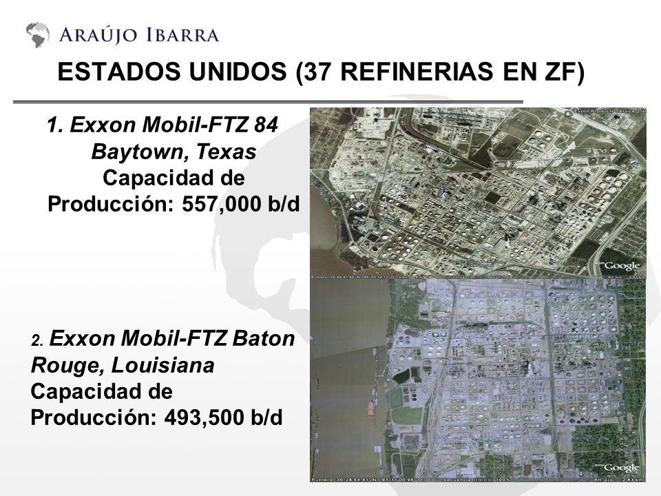 ESTADOS UNIDOS (37 REFINERIAS EN ZF) 1. Exxon Mobil-FTZ 84 Baytown, Texas Capacidad de Producción: 557,000 b/d 2. Exxon Mobil-FTZ Baton Rouge, Louisia