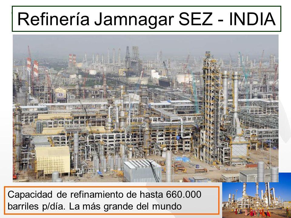 Refinería Jamnagar SEZ - INDIA Capacidad de refinamiento de hasta 660.000 barriles p/día. La más grande del mundo