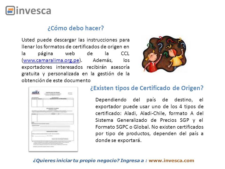 Usted puede descargar las instrucciones para llenar los formatos de certificados de origen en la página web de la CCL (www.camaralima.org.pe). Además,