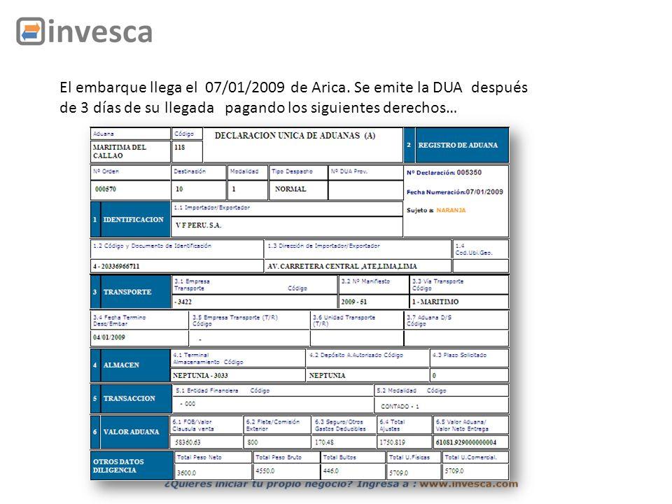El embarque llega el 07/01/2009 de Arica. Se emite la DUA después de 3 días de su llegada pagando los siguientes derechos…