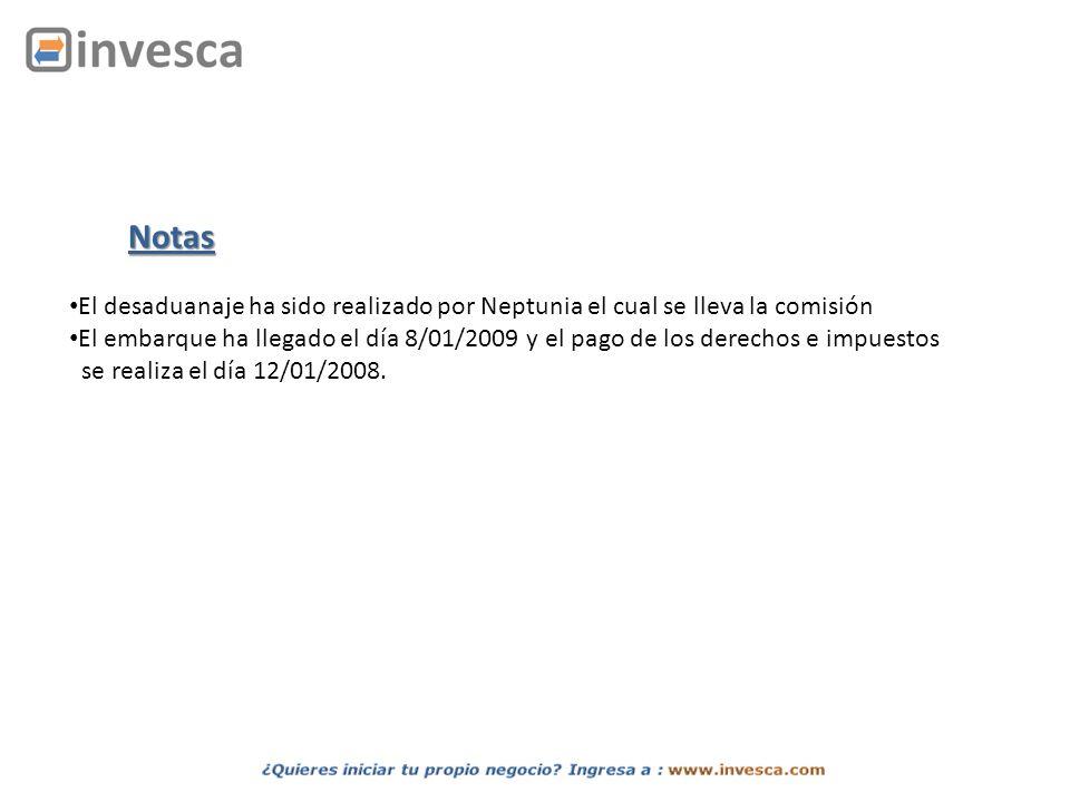 El desaduanaje ha sido realizado por Neptunia el cual se lleva la comisión El embarque ha llegado el día 8/01/2009 y el pago de los derechos e impuest