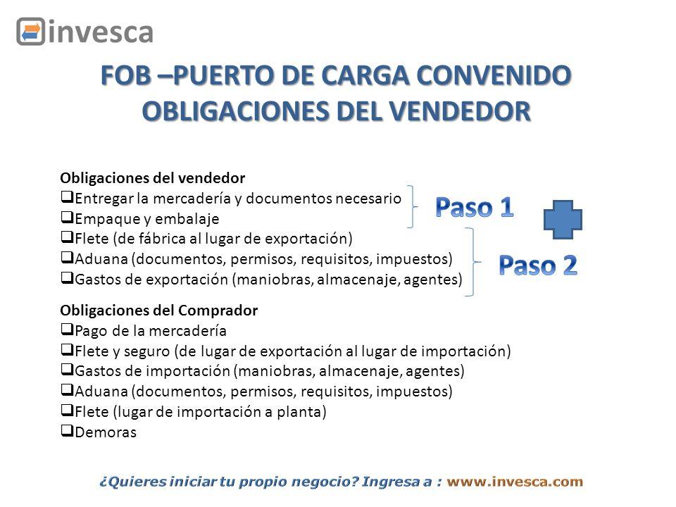 Obligaciones del vendedor Entregar la mercadería y documentos necesario Empaque y embalaje Flete (de fábrica al lugar de exportación) Aduana (document