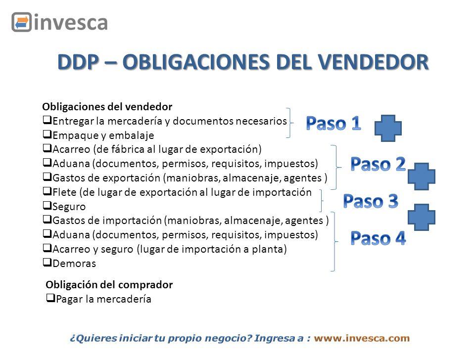 Obligaciones del vendedor Entregar la mercadería y documentos necesarios Empaque y embalaje Acarreo (de fábrica al lugar de exportación) Aduana (docum