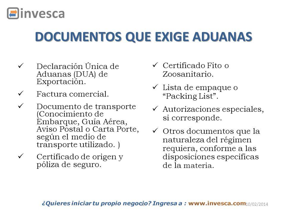 1510/02/2014 DOCUMENTOS QUE EXIGE ADUANAS Declaración Única de Aduanas (DUA) de Exportación. Factura comercial. Documento de transporte (Conocimiento