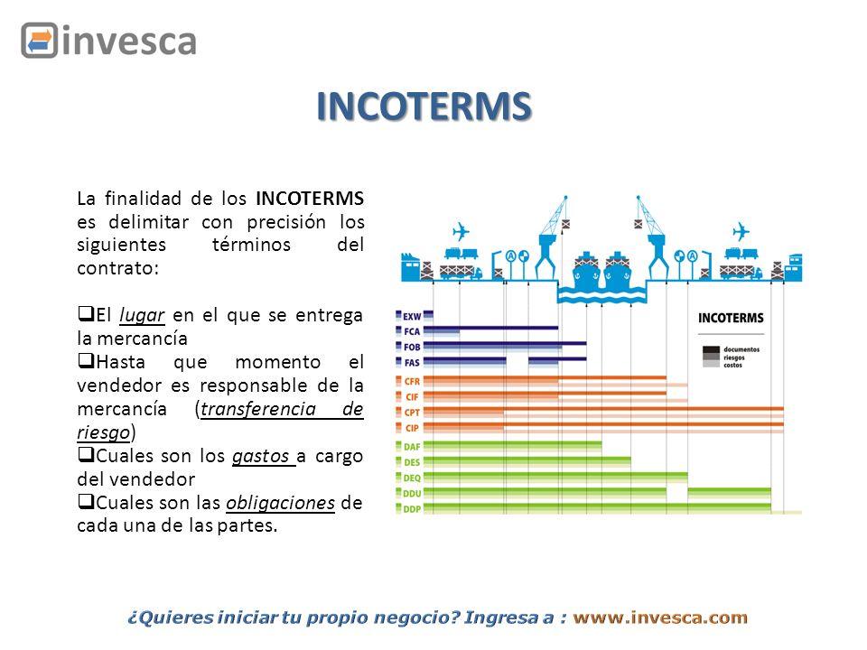 La finalidad de los INCOTERMS es delimitar con precisión los siguientes términos del contrato: El lugar en el que se entrega la mercancía Hasta que mo