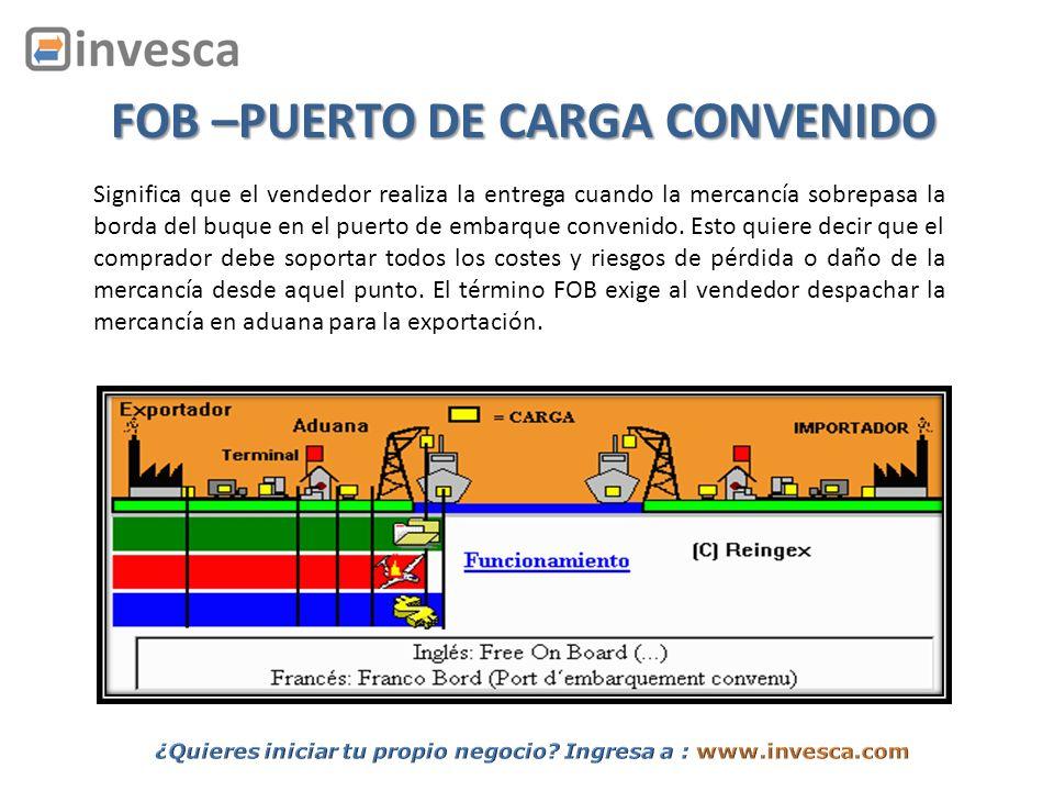 Significa que el vendedor realiza la entrega cuando la mercancía sobrepasa la borda del buque en el puerto de embarque convenido. Esto quiere decir qu
