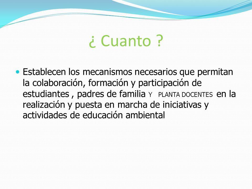 ¿ Cuanto ? Establecen los mecanismos necesarios que permitan la colaboración, formación y participación de estudiantes, padres de familia Y PLANTA DOC