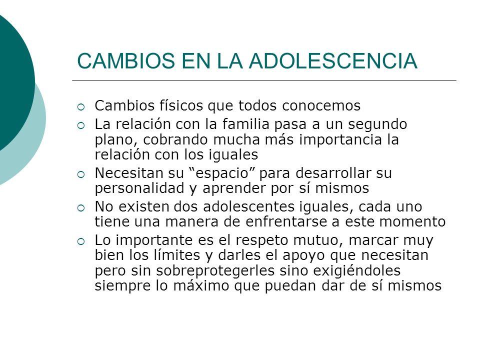 CAMBIOS EN LA ADOLESCENCIA Cambios físicos que todos conocemos La relación con la familia pasa a un segundo plano, cobrando mucha más importancia la r