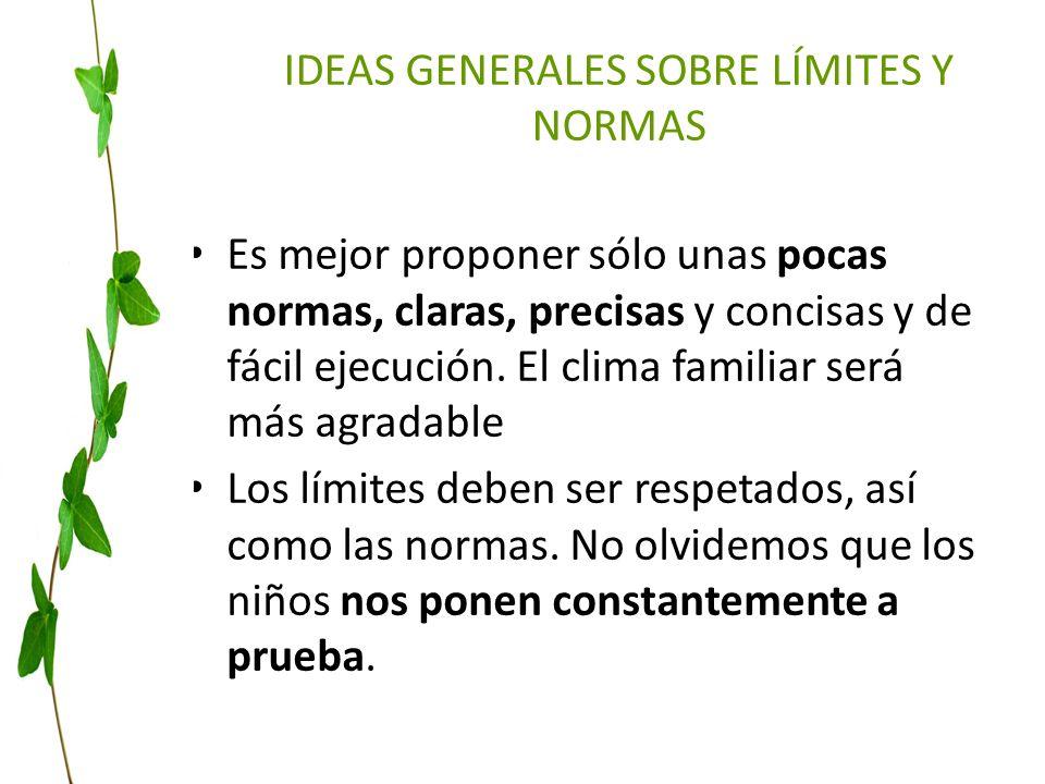 IDEAS GENERALES SOBRE LÍMITES Y NORMAS Es mejor proponer sólo unas pocas normas, claras, precisas y concisas y de fácil ejecución. El clima familiar s