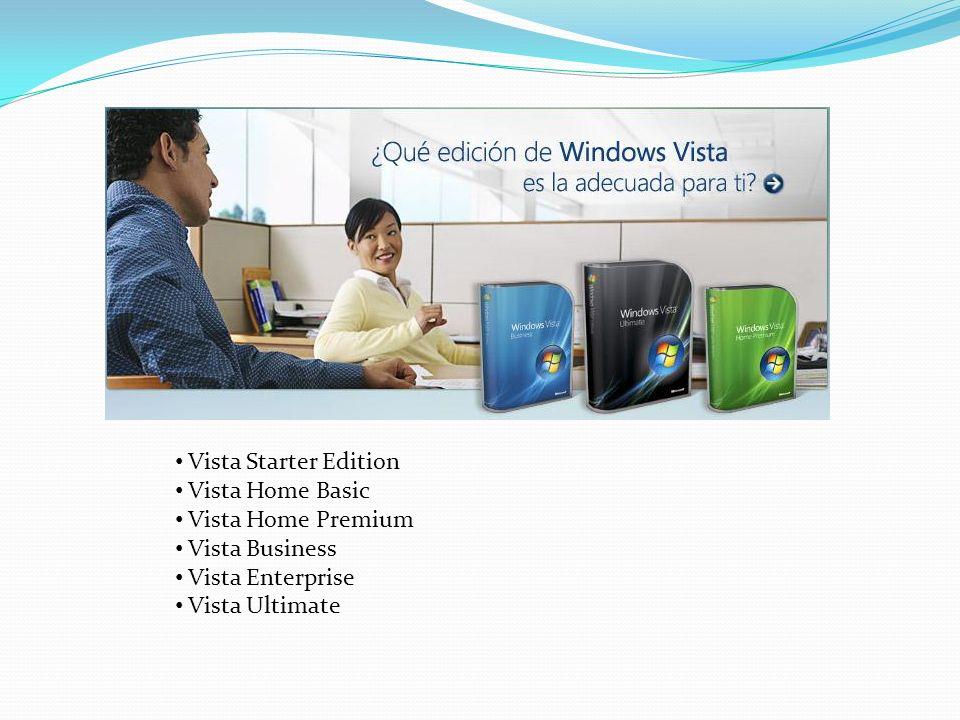 Windows Vista Starter Países Emergentes Computadoras de bajo costo Disponible solo para arquitecturas X86 (32 bits) Ejecuta hasta 3 aplicaciones simultáneamente No acepta conexiones en red entrantes